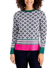 Charter Club Petite Fairisle Sweater, Created for Macy's