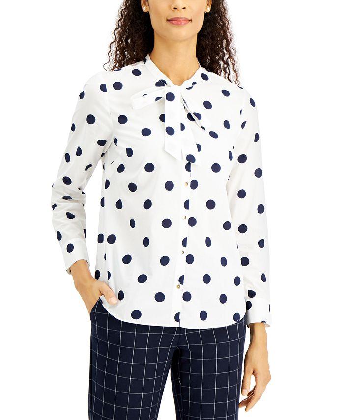 Charter Club - Petite Dot-Print Button-Front Cotton Top