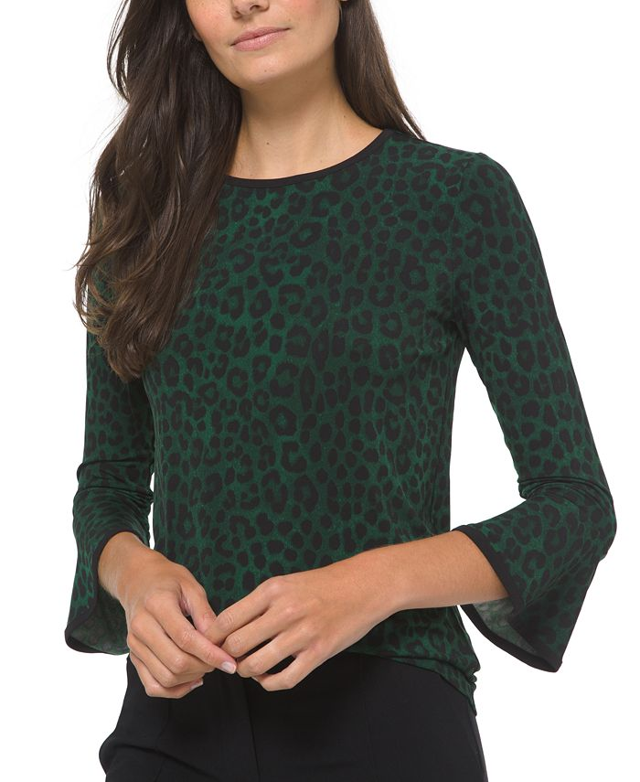 Michael Kors - Animal-Print Bell-Sleeve Top