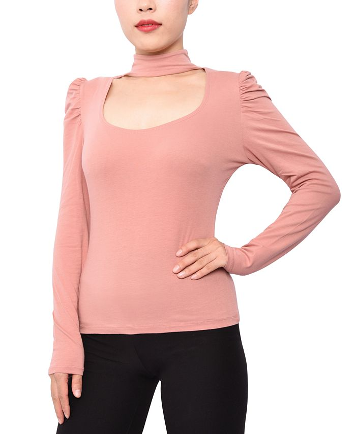 Derek Heart - Juniors' Cut-Out Mock-Neck Top