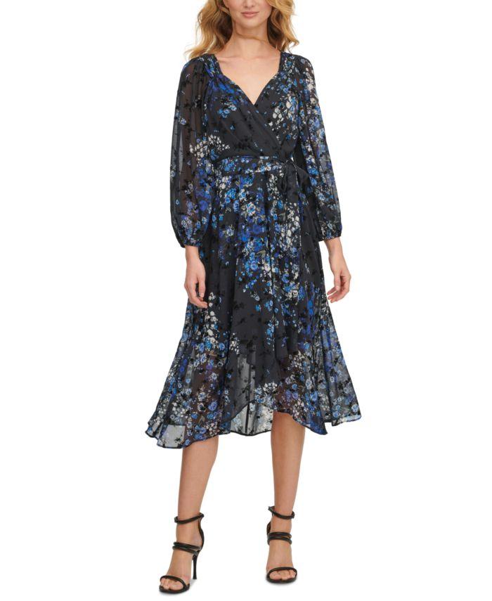 DKNY Floral-Print Balloon-Sleeve Faux-Wrap Dress & Reviews - Dresses - Women - Macy's