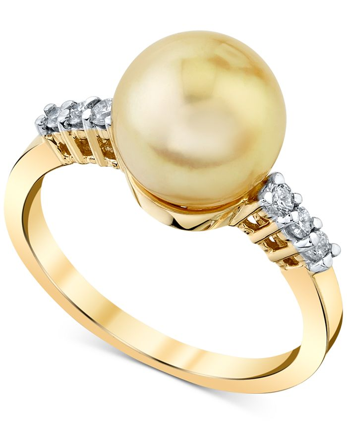 Macy's - Cultured Golden South Sea Pearl (9mm) & Diamond (1/8 ct. t.w.) Ring in 14k Gold
