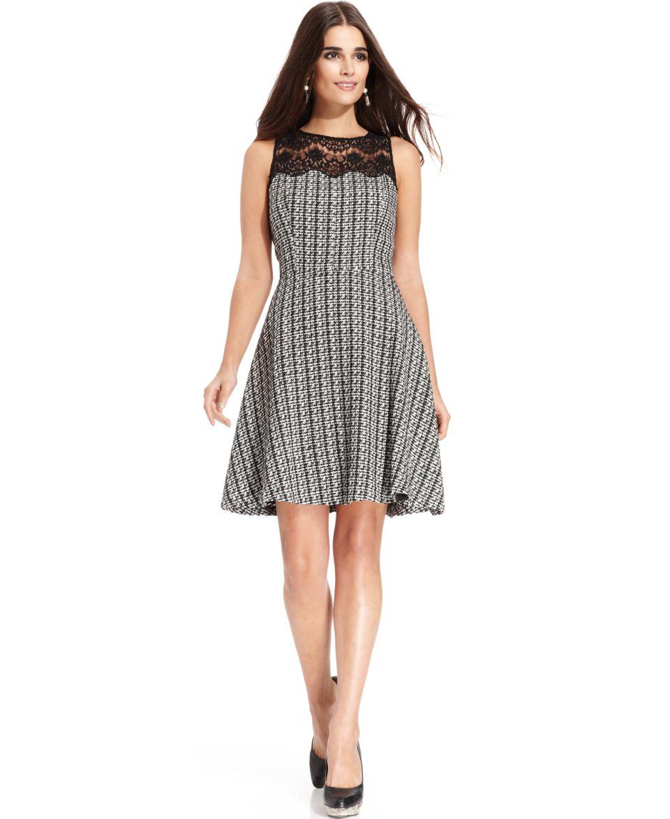 Jessica Simpson Sleeveless Houndstooth Belted Dress   Dresses   Women