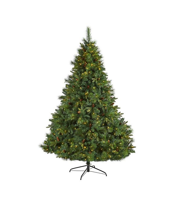 Nearly Natural West Virginia Full Bodied Mixed Pine Artificial Christmas Tree with 600 Clear LED Lights and Pine Cones