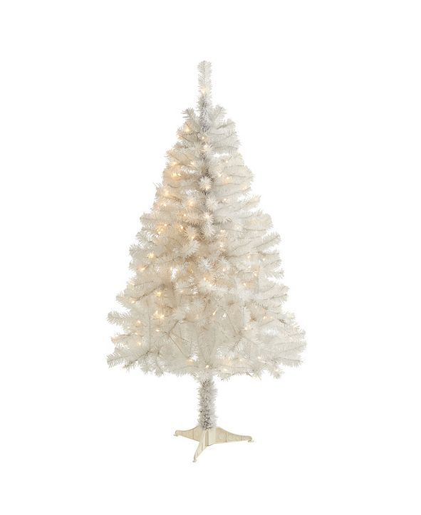 Nearly Natural Artificial Christmas Tree with 350 Bendable Branches and 150 Clear LED Lights
