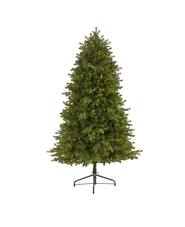 Nearly Natural 5.Washington Fir Artificial Christmas Tree with 300 Clear Lights and 672 Bendable Branches