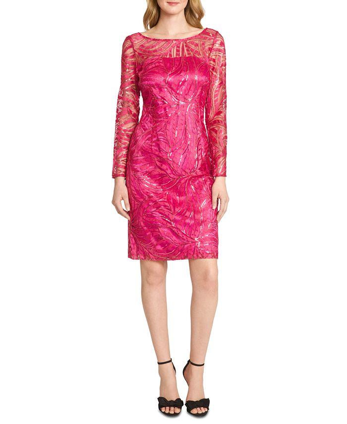 Tahari ASL - Embroidered Sequinned Sheath Dress