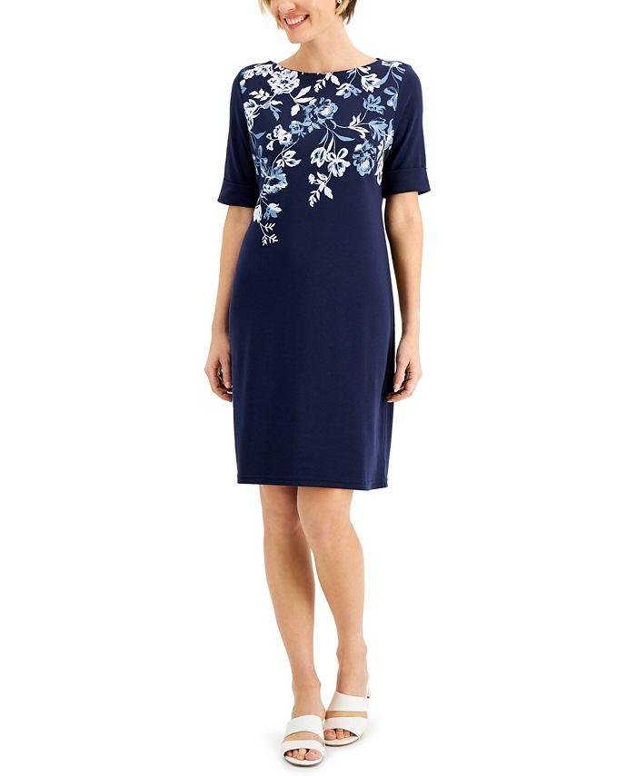Karen Scott - Floral-Print Boat-Neck Dress