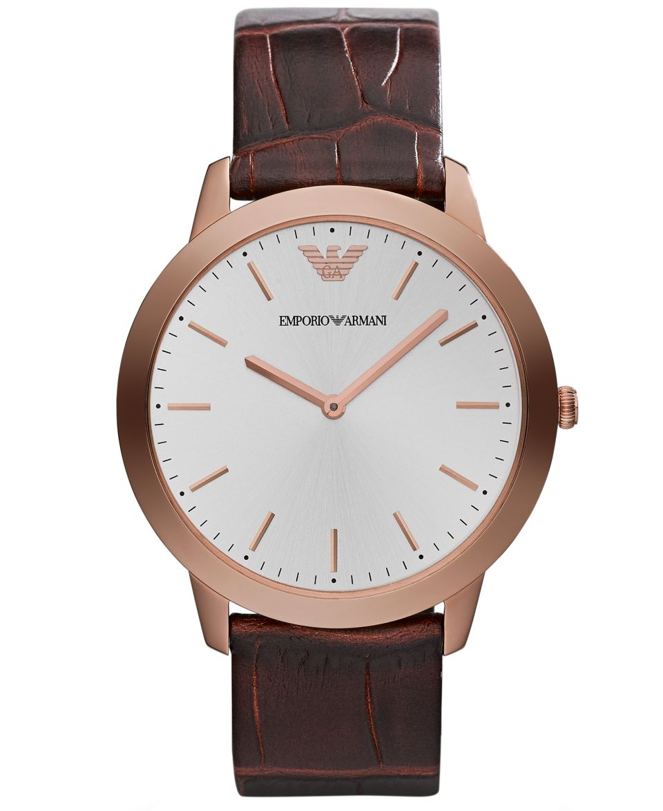 Emporio Armani Watch, Mens Brown Croco Leather Strap 41mm AR1613   Watches   Jewelry & Watches