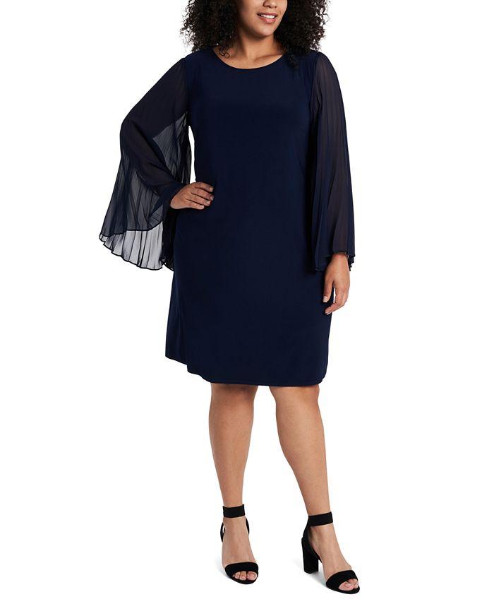MSK - Plus Size Pleated-Sleeve Shift Dress