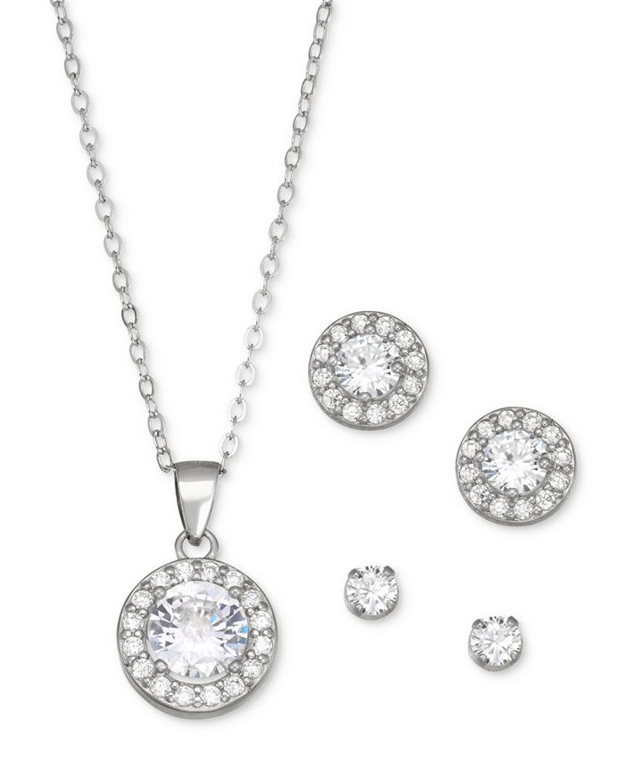 Giani Bernini - 3-Pc. Set Pendant Necklace & Stud Earrings in Sterling Silver, Created for Macy's
