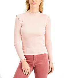 Hooked Up by IOT Juniors' Lettuce-Edge Ribbed-Knit Sweater
