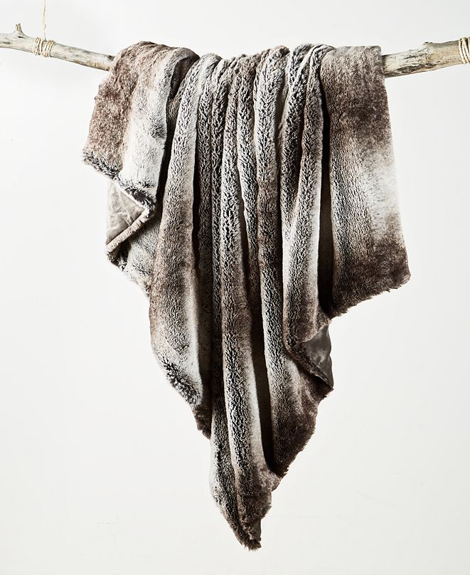 Martha Stewart Collection Ombre Faux Fur Throw, Created For Macy's