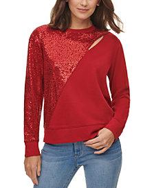 DKNY Sequin-Embellished Keyhole Sweater