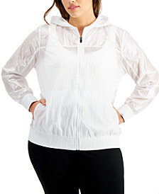 Ideology Plus Size Iridescent Full Zip Jacket, Created for Macy's