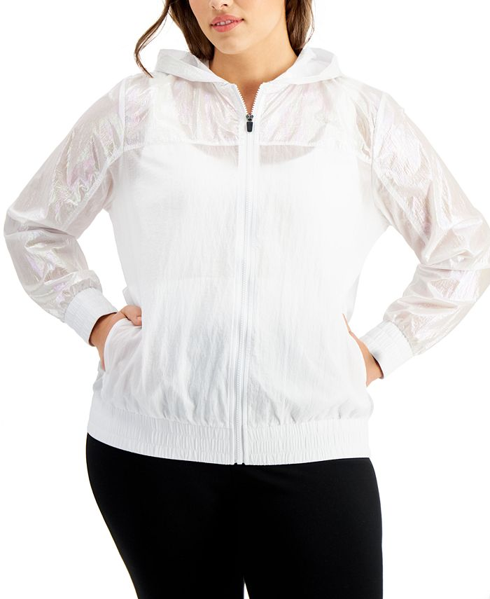 Ideology - Plus Size Iridescent Zipper Hoodie