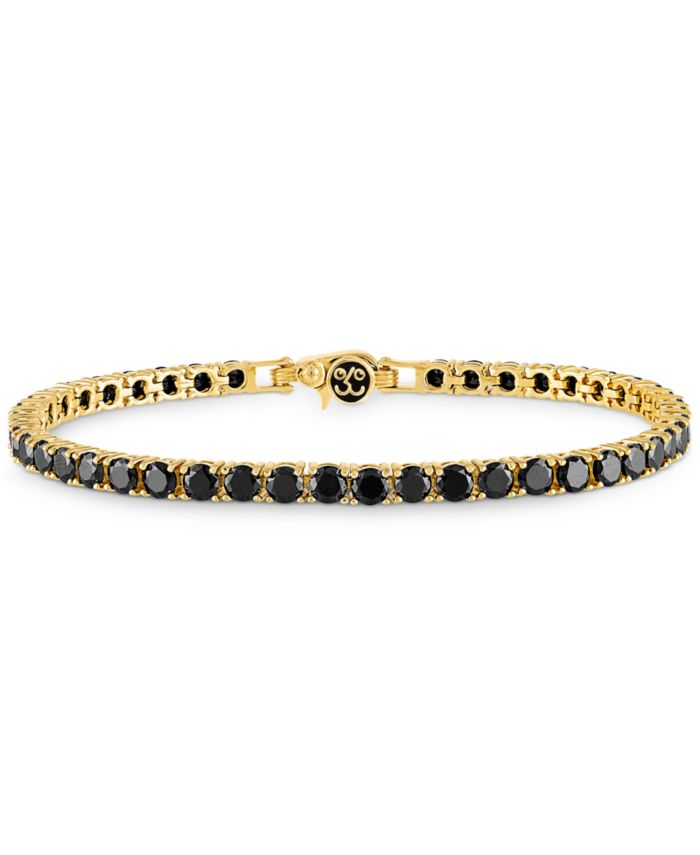 Esquire Men's Jewelry Black Spinel Tennis  Bracelet (16-1/2 ct. t.w.) in 14k Gold-Plated Sterling Silver, Created for Macy's & Reviews - Bracelets - Jewelry & Watches - Macy's