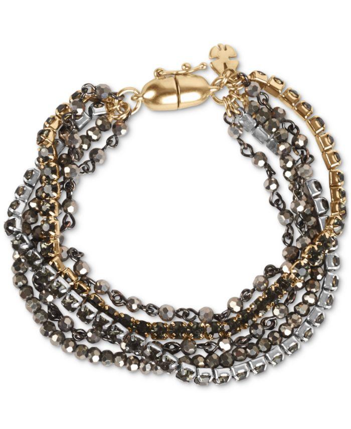 Lucky Brand Tri-Tone Crystal & Bead Multi-Row Magnetic Bracelet & Reviews - Bracelets - Jewelry & Watches - Macy's