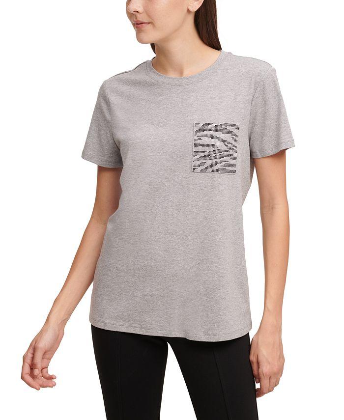 Calvin Klein - Printed Rhinestone-Pocket T-Shirt