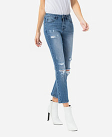 VERVET Women's Mid Rise Distressed Crop Slim Straight Jeans