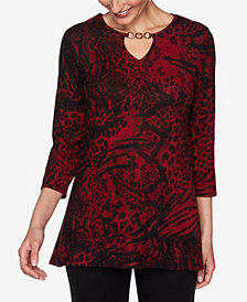 Ruby Rd. Women's Plus Size Mixed Animal Print Top