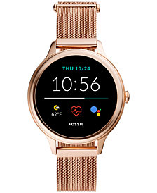 Fossil Women's Gen 5E Rose Gold-Tone Stainless Steel Mesh Bracelet Touchscreen Smart Watch 42mm