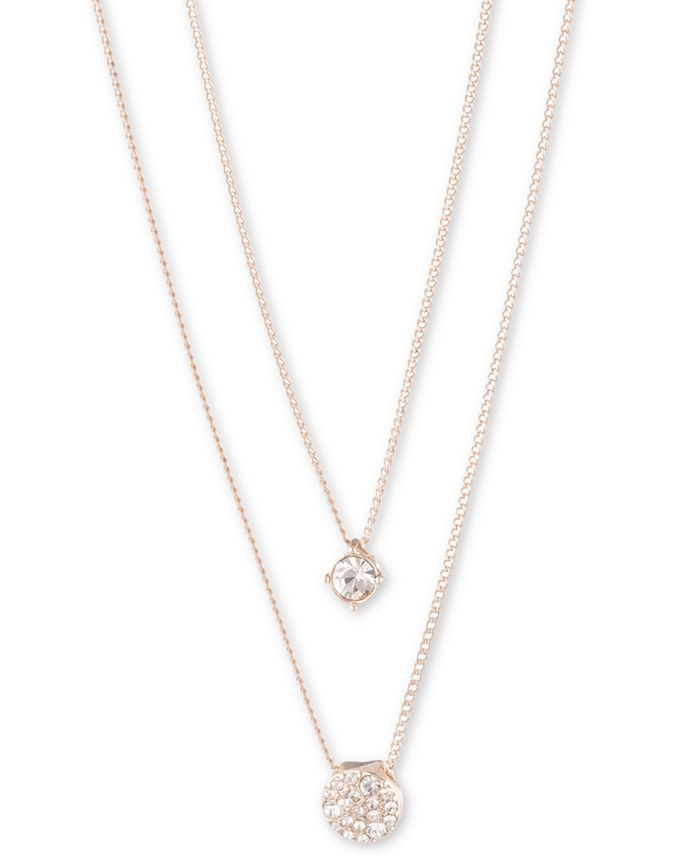 """Givenchy - Scattered Crystal Adjustable Two-Row Pendant Necklace, 16 + 3"""" extender"""