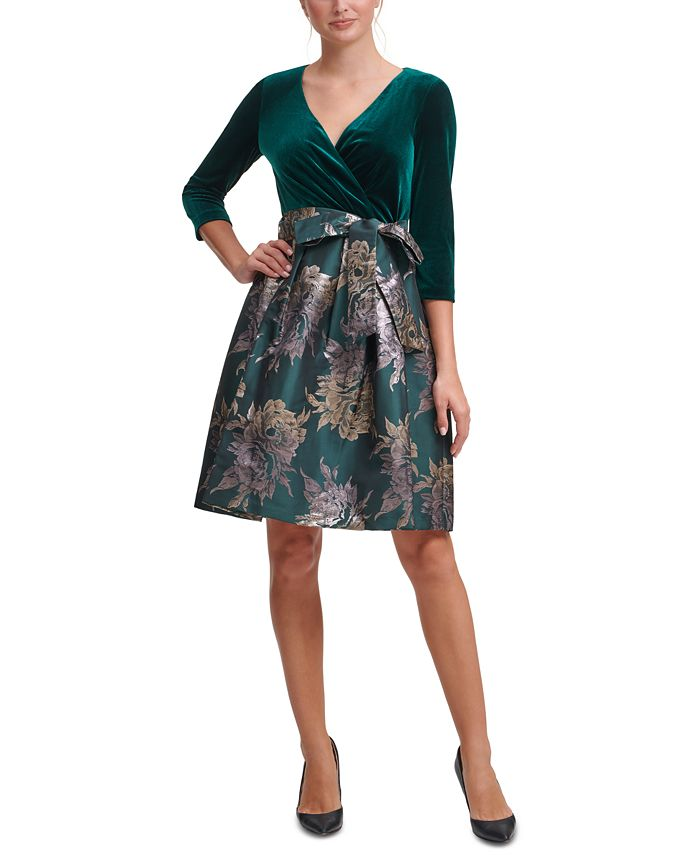 Jessica Howard - Velvet & Jacquard Fit & Flare Dress