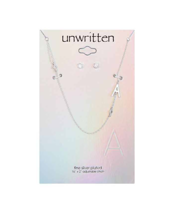 Unwritten Fine Silver Plated Letter Initial Necklace with Cubic Zirconia Stud Earrings & Reviews - Fashion Jewelry - Jewelry & Watches - Macy's