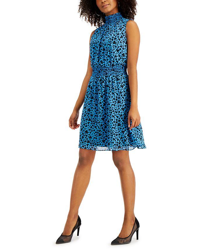 Bar III - Heart-Print Smocked-Waist Dress