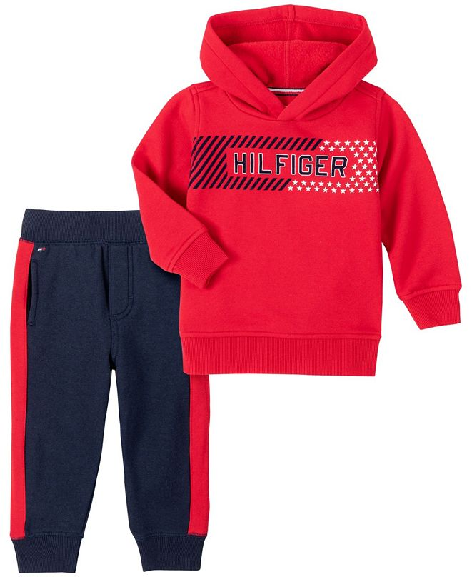 Tommy Hilfiger Baby Boys Hooded Fleece Pant Set