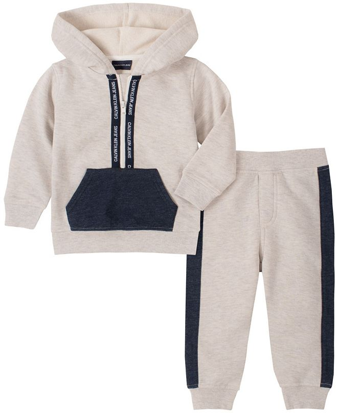 Calvin Klein Baby Boys Half-zip Fleece Pant Set