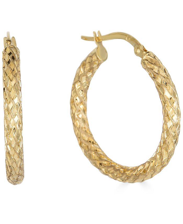 "Italian Gold - Small Snake Texture Hoop Earrings in 10k Gold, 1"""