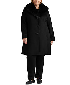 Lauren Ralph Lauren Plus Size Faux-Fur-Collar Coat, Created for Macy's