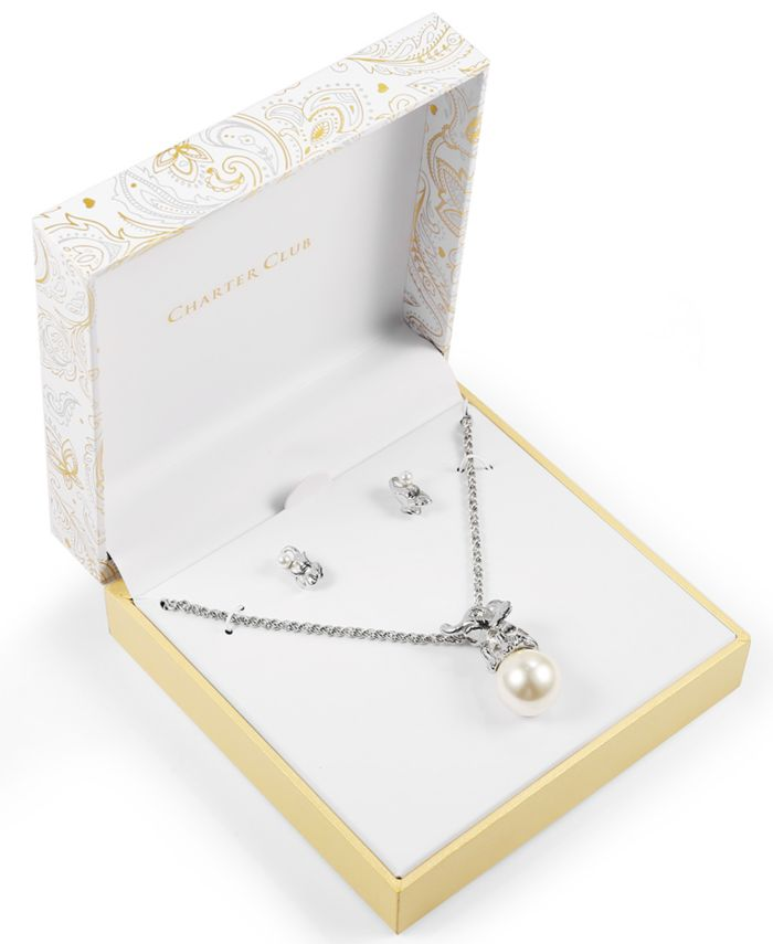Charter Club Silver-Tone Pavé & Imitation Pearl Elephant Pendant Necklace & Stud Earrings Set, Created for Macy's & Reviews - Fashion Jewelry - Jewelry & Watches - Macy's
