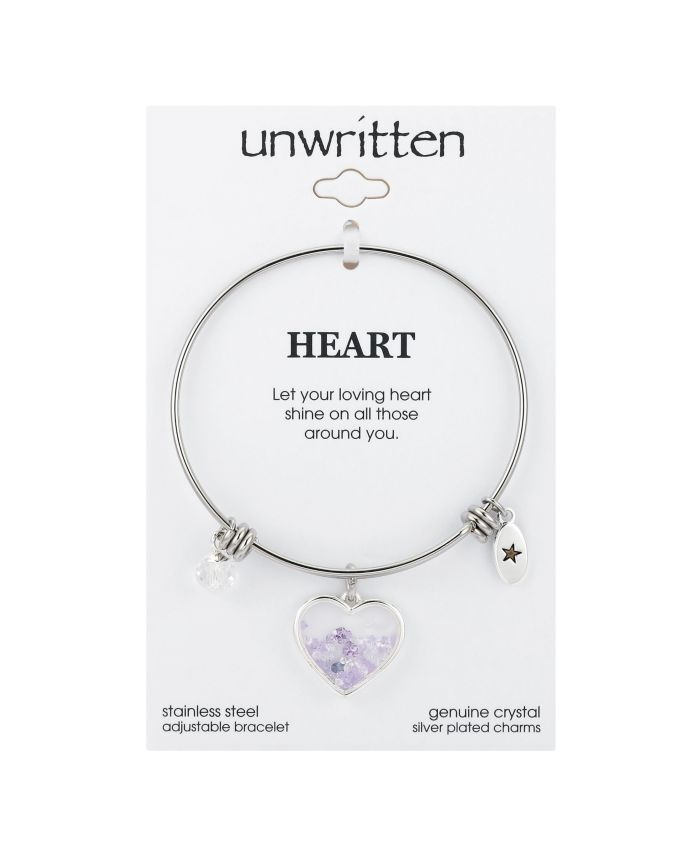 Unwritten Heart with Multi-Purple Crystal Shaker Adjustable Bangle Bracelet in Stainless Steel with Fine Silver Plated Charms & Reviews - Bracelets - Jewelry & Watches - Macy's