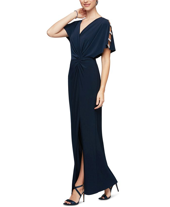 Alex Evenings - Embellished-Sleeve Jersey Gown