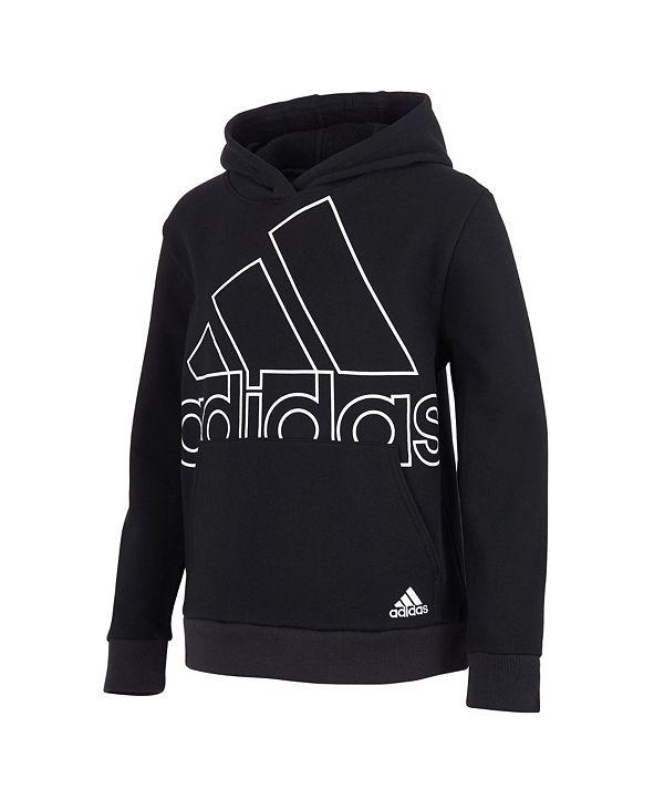 adidas Toddler Boys Long Sleeve Badge of Sport Fleece Hooded Pullover
