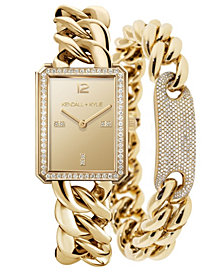 Women's Kendall + Kylie Gold Tone Chunky Chain with Rectangle Face Stainless Steel Strap Analog Watch Matching Bracelet Set 40mm