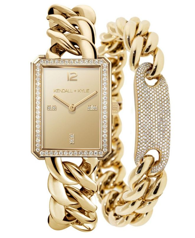 Kendall + Kylie Women's Gold Tone Chunky Chain with Rectangle Face Stainless Steel Strap Analog Watch Matching Bracelet Set 40mm