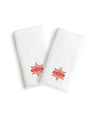 Textiles Embroidered Luxury Hand Towels - Snow Flake Set of 2