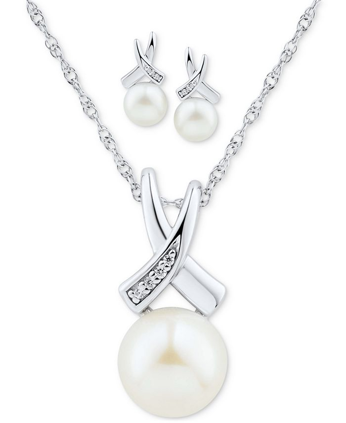 """Macy's - 2-Pc. Set Cultured Freshwater Pearl (7 & 8mm) & Diamond Accent 18"""" Pendant Necklace & Matching Stud Earrings in Sterling Silver"""