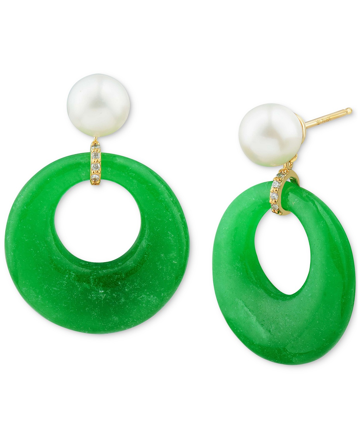 Cultured Freshwater Pearl (7mm), Dyed Jade & Diamond Accent Hoop Drop Earrings in 14k Gold-Plated Sterling Silver
