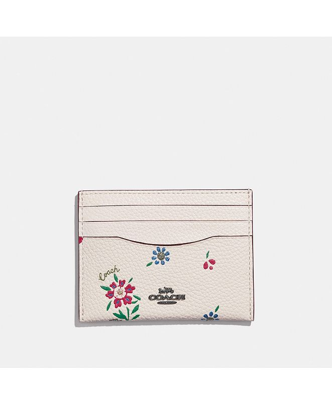 COACH Wildflower Print Flat Leather Card Case