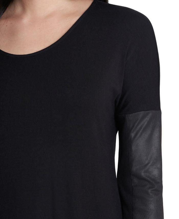 MSK Faux-Leather-Sleeve Ponté-Knit Shift Dress & Reviews - Dresses - Women - Macy's