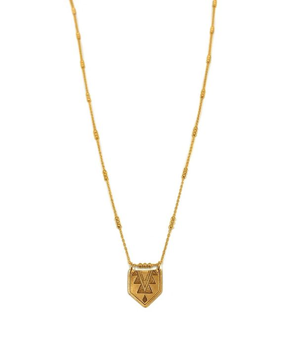 Kemi Designs Women's 14K Gold Plated Mayan Pendant on Detailed Cable Chain
