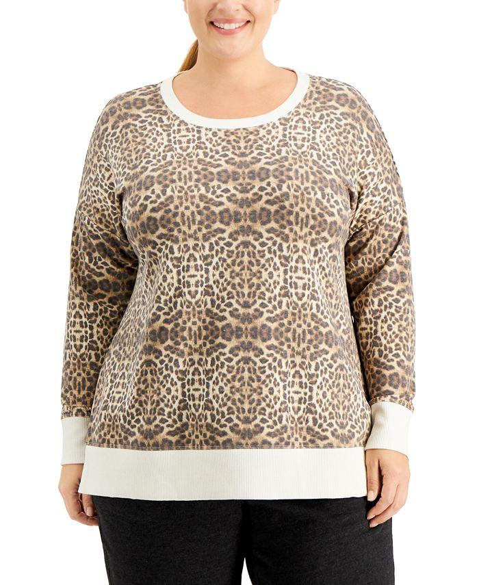 Ideology - Plus Size Leopard-Print Sweatshirt