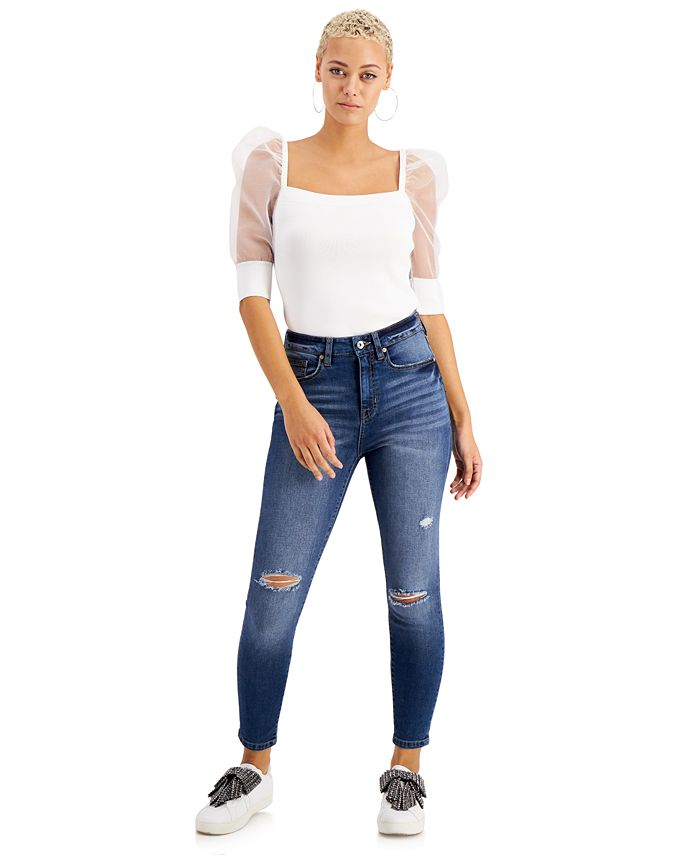 Kendall + Kylie - Juniors' High-Rise Skinny Ankle Jeans