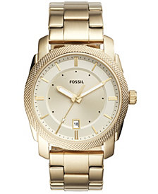 Fossil Men's Machine Gold-Tone Stainless Steel Bracelet Watch 42mm