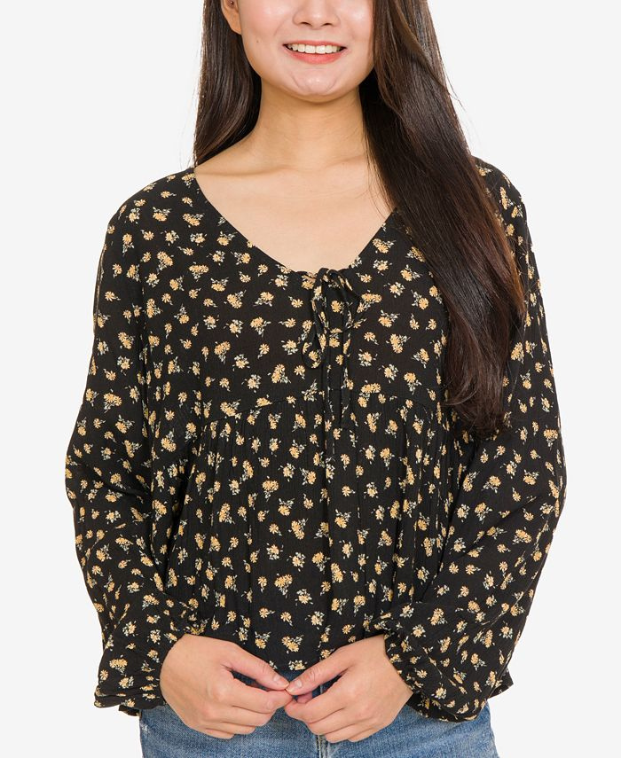 Hippie Rose - Juniors' Printed Tie-Front Blouse